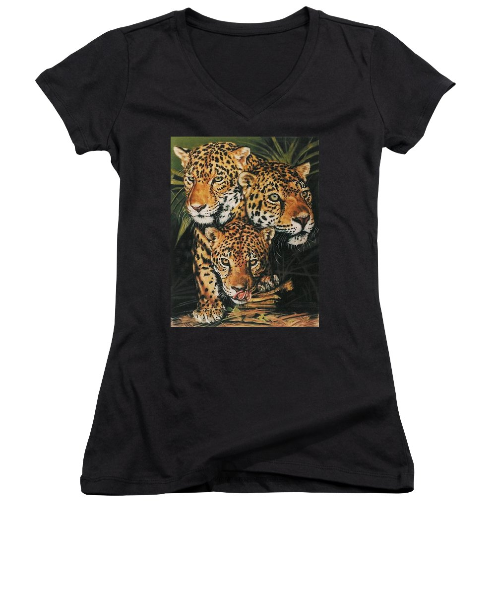 Jaguar Women's V-Neck (Athletic Fit) featuring the pastel Forest Jewels by Barbara Keith