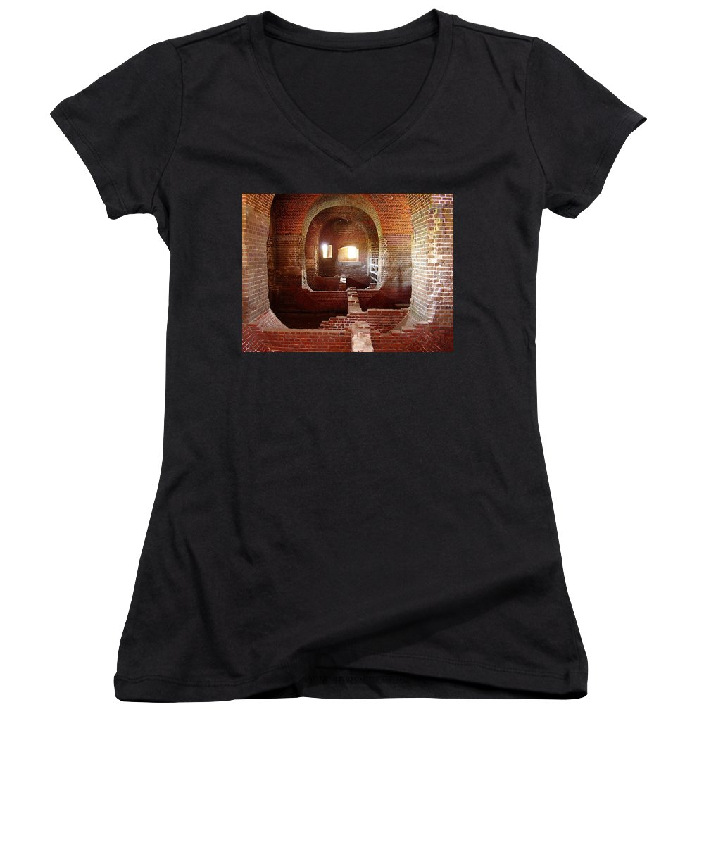 Fort Pulaski Women's V-Neck T-Shirt featuring the photograph Fort Pulaski I by Flavia Westerwelle