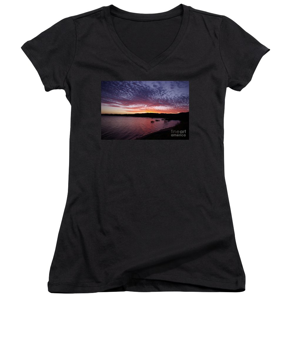 Landscape Women's V-Neck (Athletic Fit) featuring the photograph Four Elements Sunset Sequence 1 Coconuts Qld by Kerryn Madsen - Pietsch