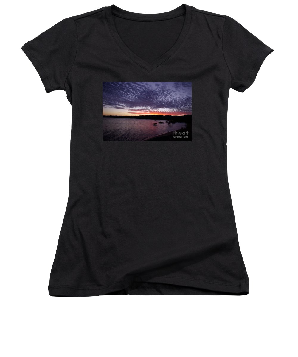 Landscape Women's V-Neck T-Shirt featuring the photograph Four Elements Sunset Sequence 7 Coconuts Qld by Kerryn Madsen - Pietsch