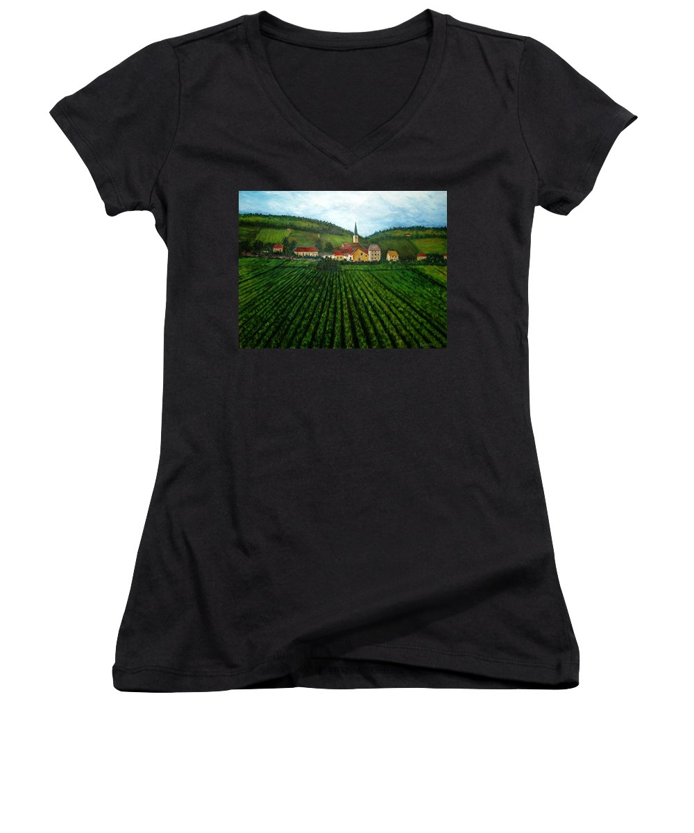 Acrylic Women's V-Neck (Athletic Fit) featuring the painting French Village In The Vineyards by Nancy Mueller