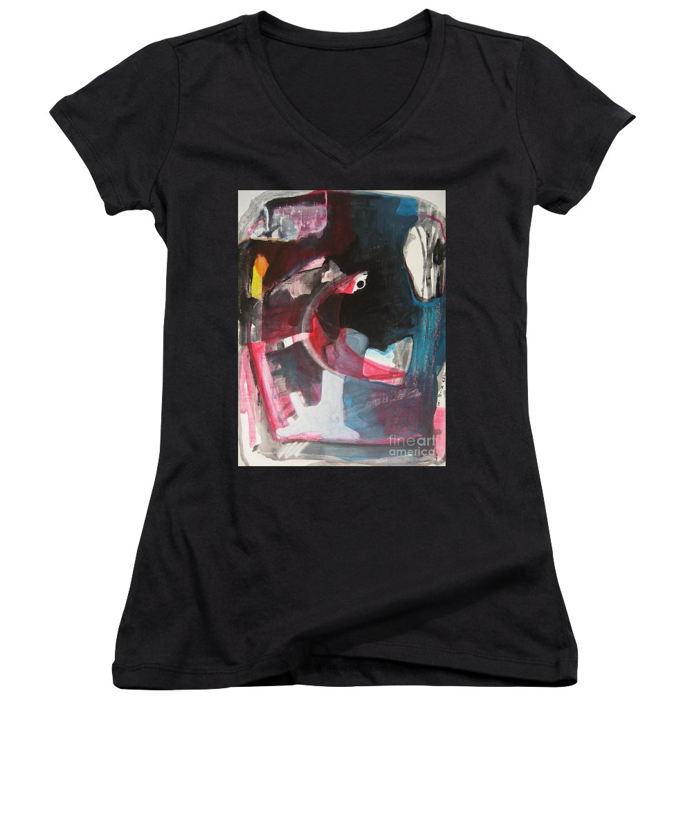 Abstract Paintings Paintings Abstract Art Paintings Women's V-Neck (Athletic Fit) featuring the painting Fumbling With Memory by Seon-Jeong Kim