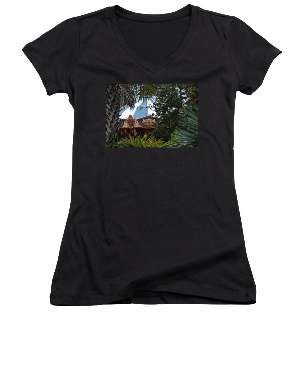 Architecture Women's V-Neck T-Shirt featuring the photograph Fun Thru The Trees by Rob Hans