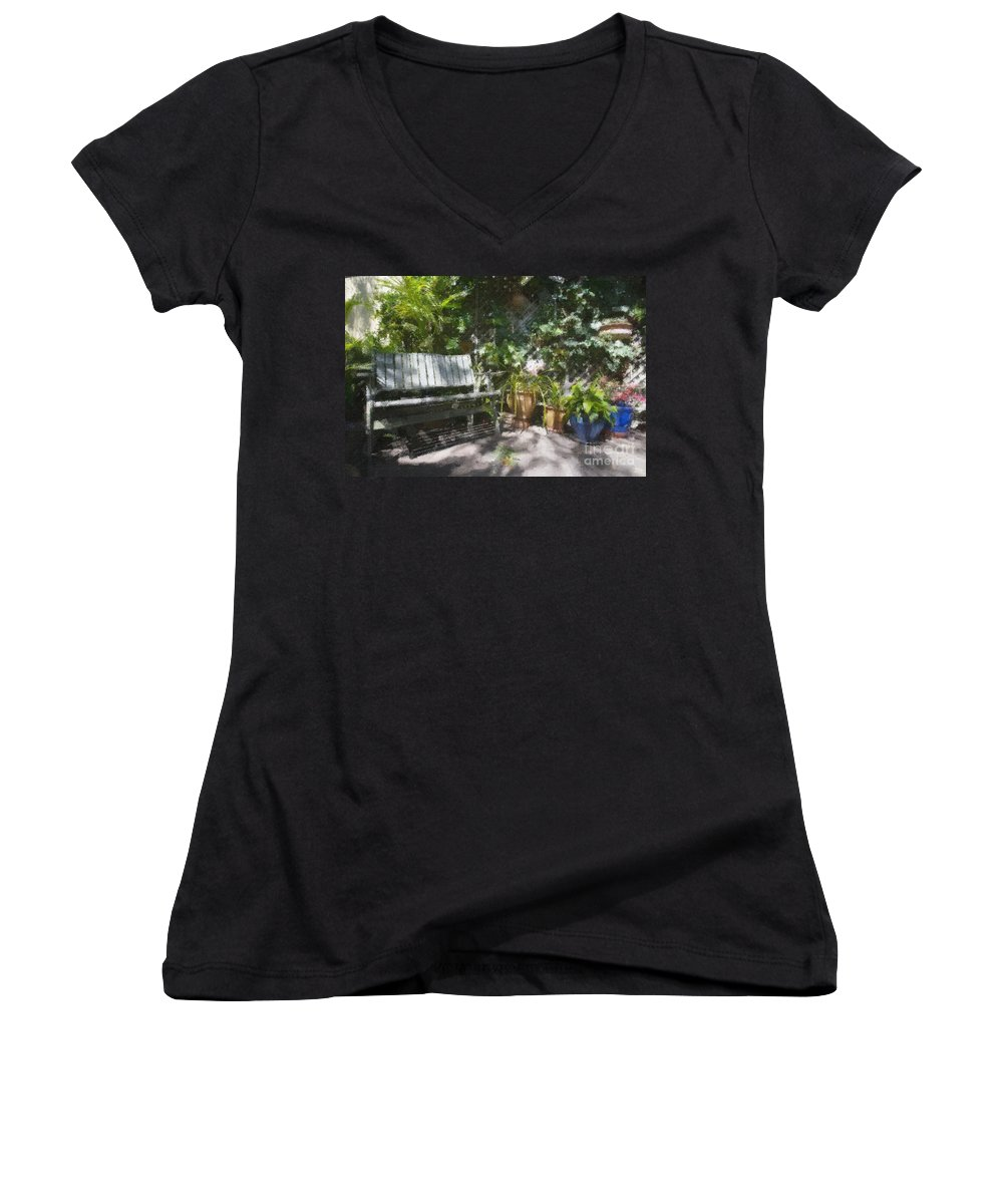 Garden Bench Flowers Impressionism Women's V-Neck T-Shirt featuring the photograph Garden Bench by Sheila Smart Fine Art Photography
