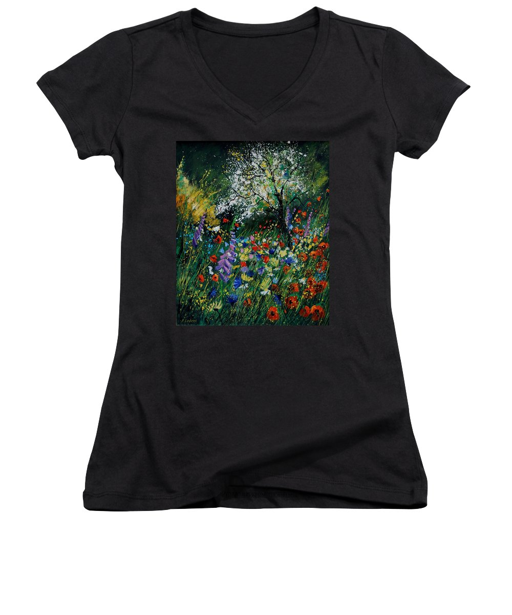 Flowers Women's V-Neck T-Shirt featuring the painting Garden Flowers by Pol Ledent