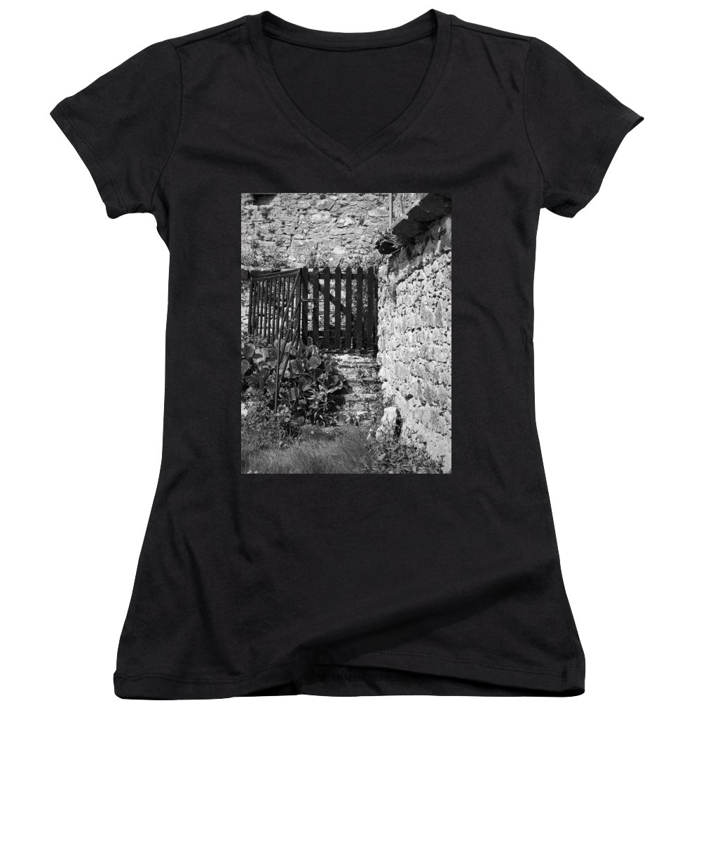 Irish Women's V-Neck T-Shirt featuring the photograph Gate At Dunguaire Castle Kinvara Ireland by Teresa Mucha