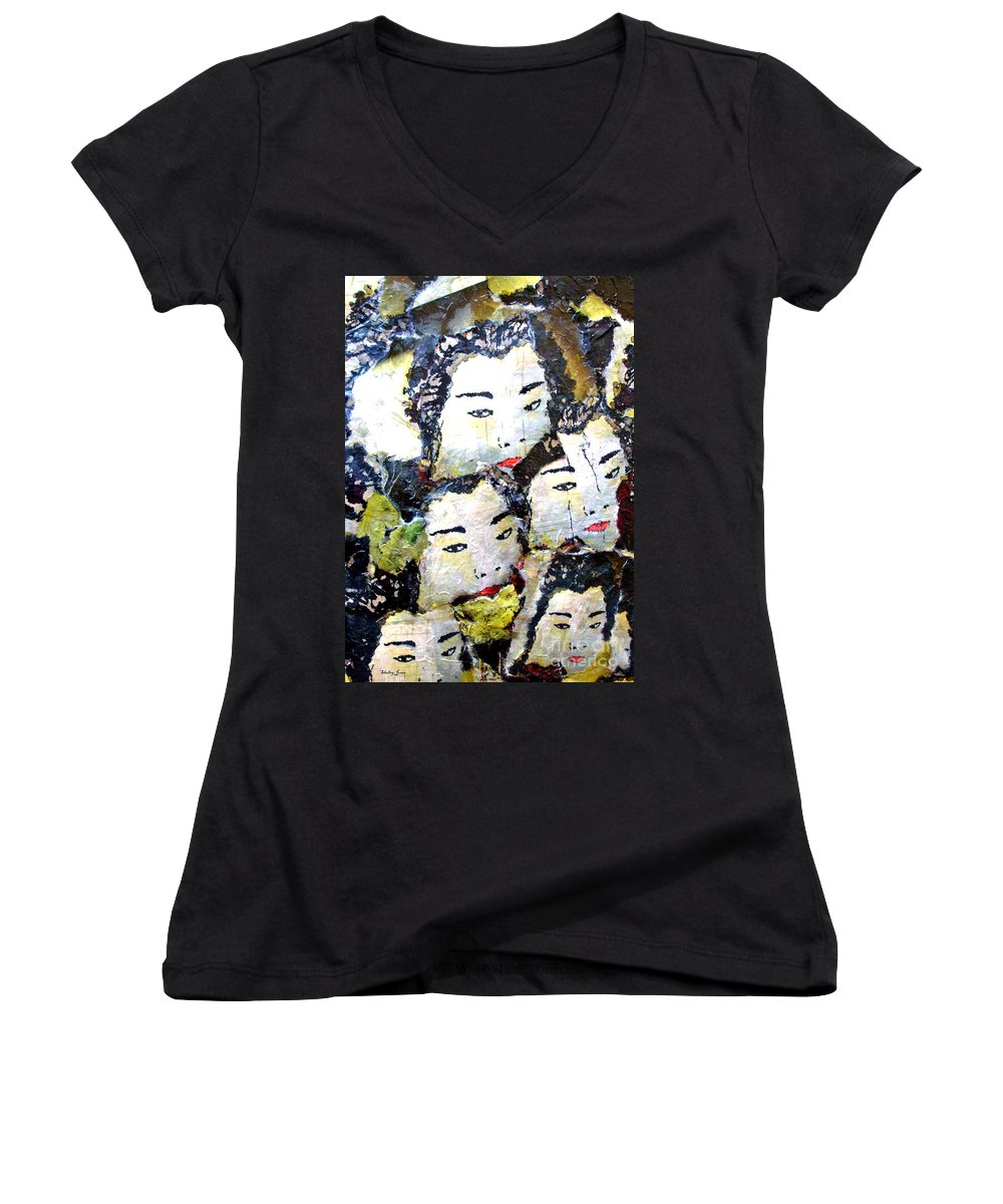 Geisha Girls Women's V-Neck (Athletic Fit) featuring the mixed media Geisha Girls by Shelley Jones