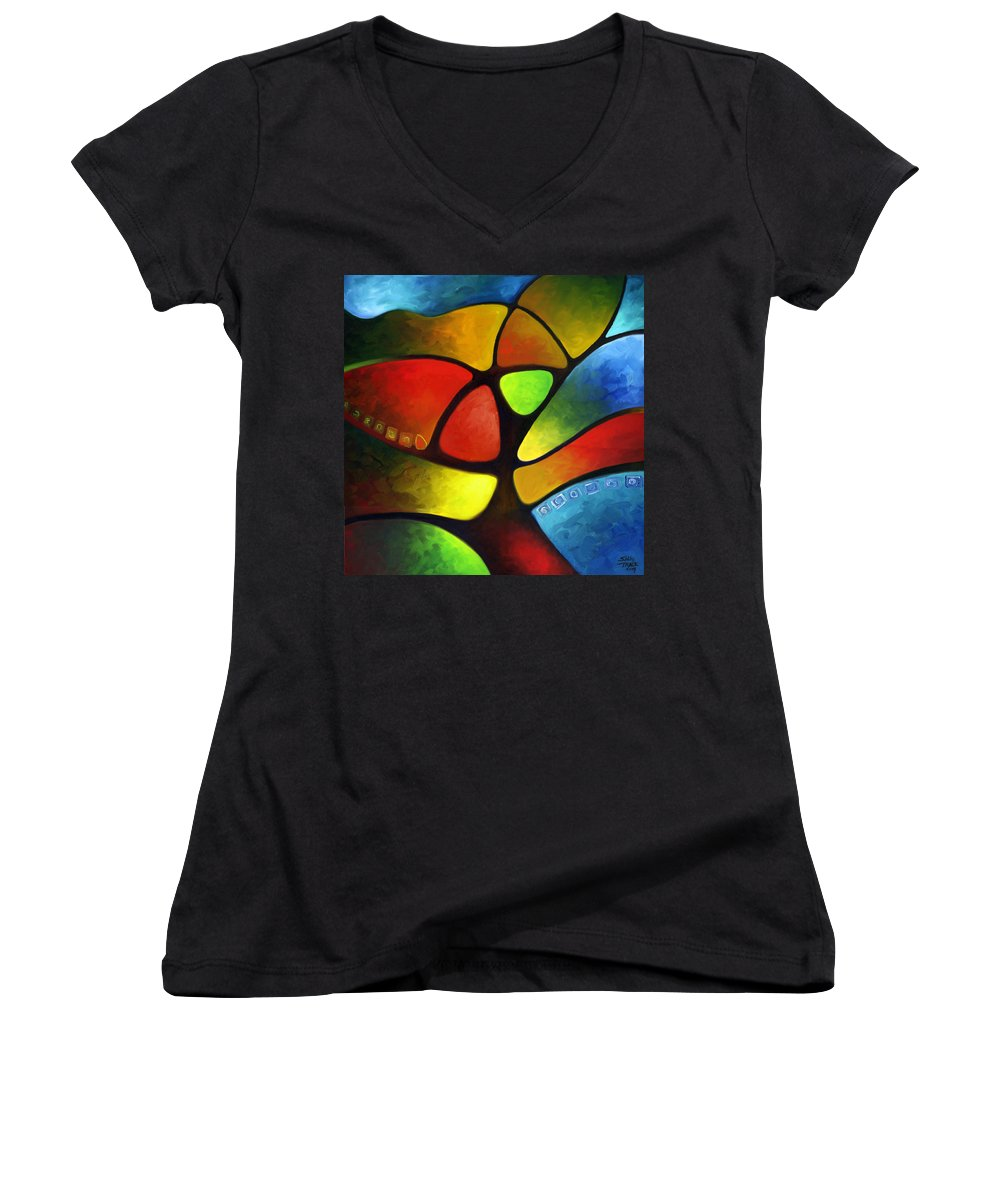 Tree Women's V-Neck T-Shirt featuring the painting Geometree by Sally Trace