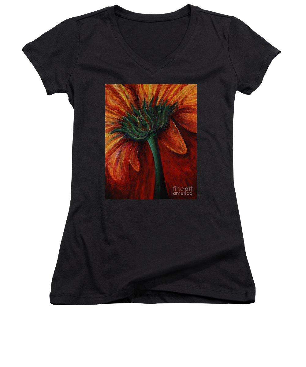 Gerbera Daisy.daisy Women's V-Neck T-Shirt featuring the painting Gerbera Daisy by Nadine Rippelmeyer