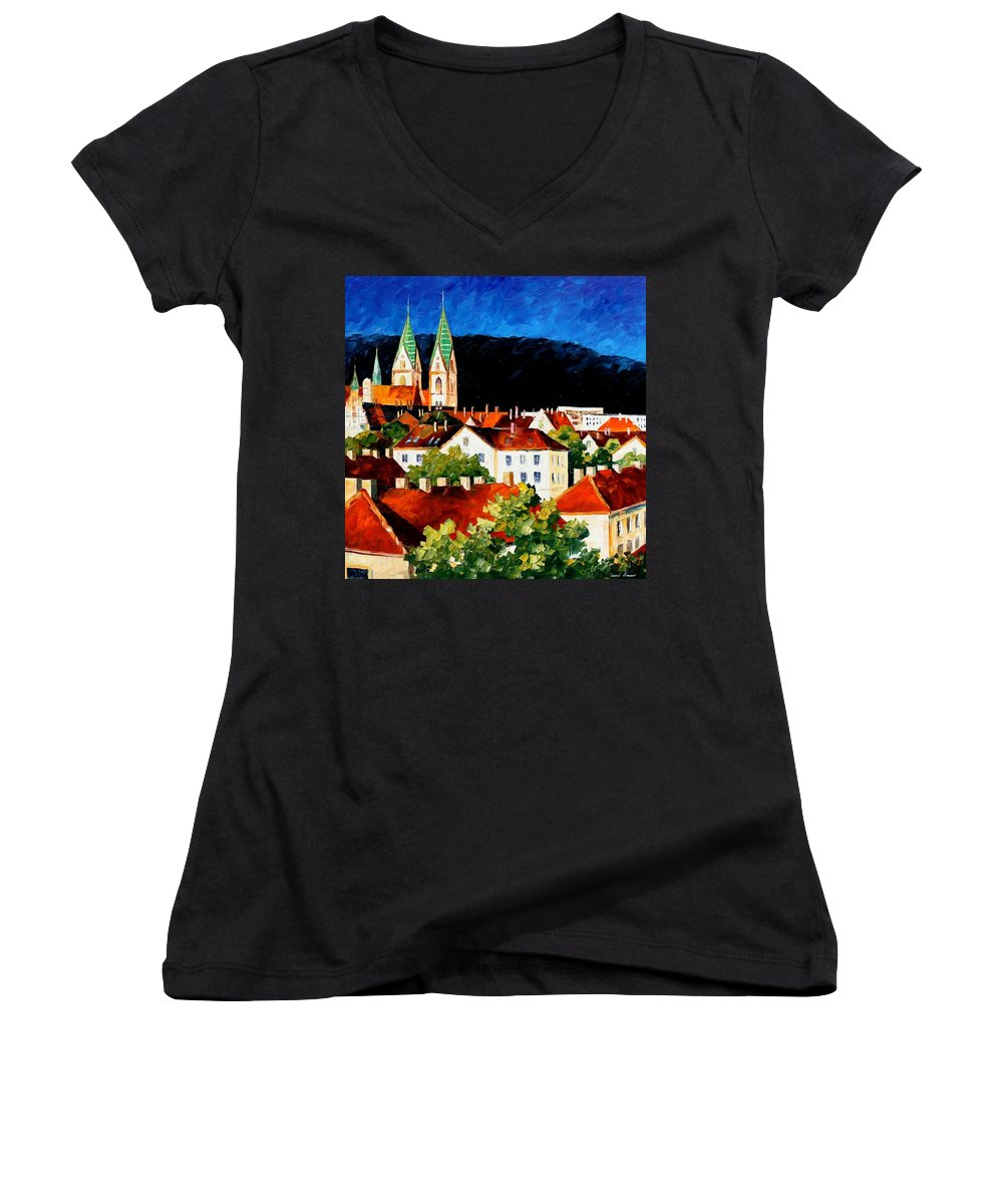 City Women's V-Neck T-Shirt featuring the painting Germany - Freiburg by Leonid Afremov