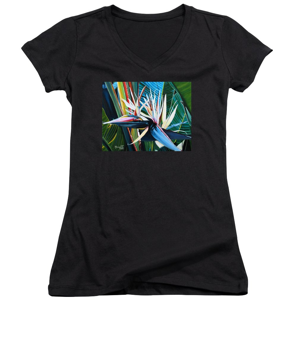 Bird Women's V-Neck T-Shirt featuring the painting Giant Bird Of Paradise by Marionette Taboniar