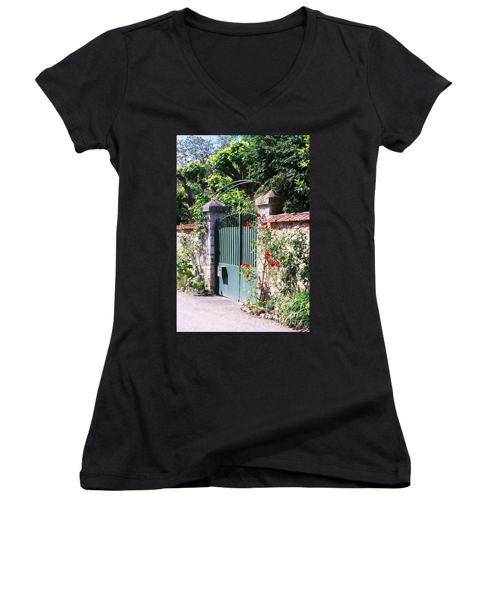 Giverny Women's V-Neck T-Shirt featuring the photograph Giverny Gate by Nadine Rippelmeyer