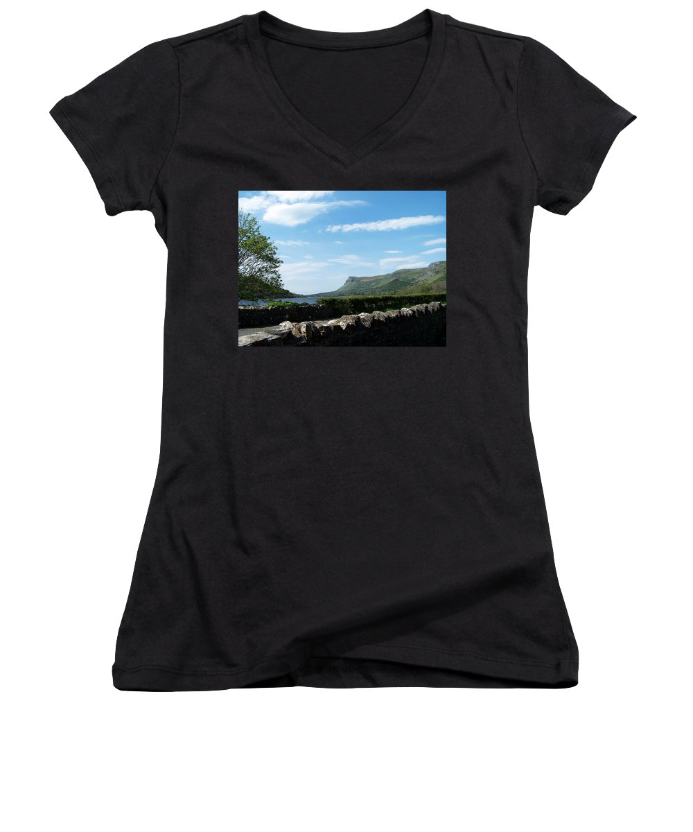Irish Women's V-Neck (Athletic Fit) featuring the photograph Glencar Lake With View Of Benbulben Ireland by Teresa Mucha