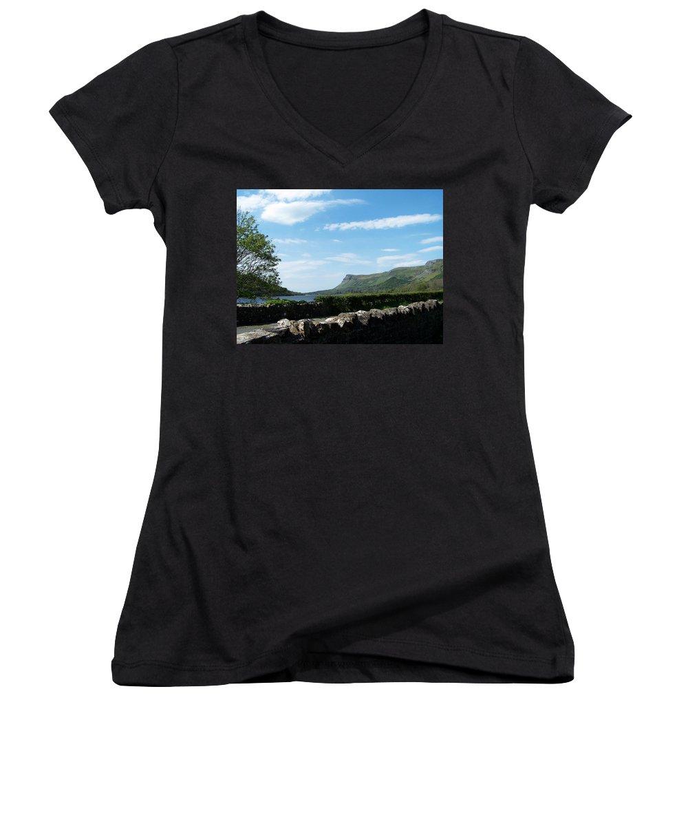 Irish Women's V-Neck T-Shirt featuring the photograph Glencar Lake With View Of Benbulben Ireland by Teresa Mucha