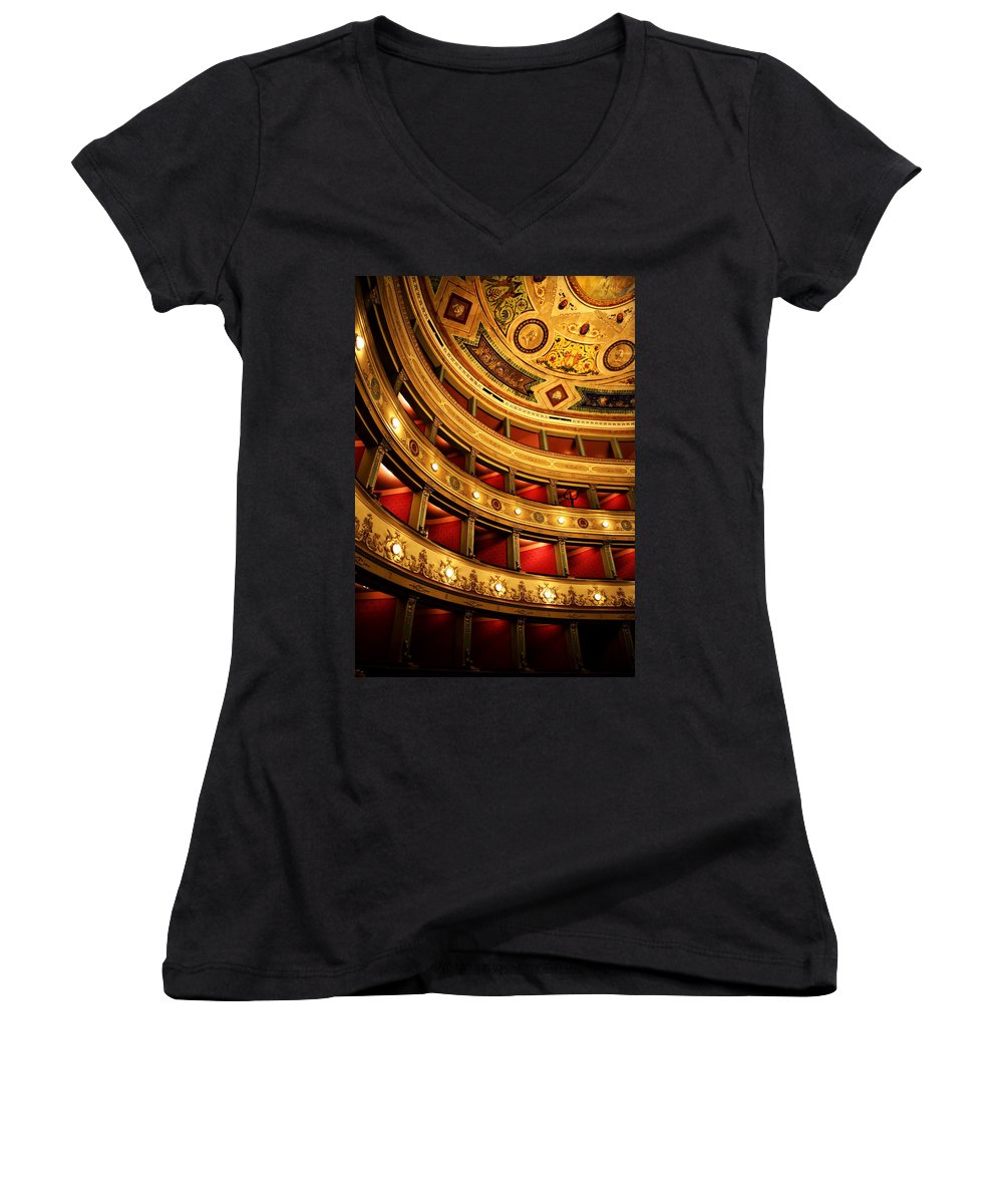 Theatre Women's V-Neck T-Shirt featuring the photograph Glorious Old Theatre by Marilyn Hunt