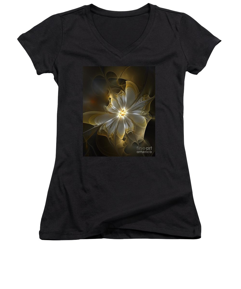 Digital Art Women's V-Neck (Athletic Fit) featuring the digital art Glowing In Silver And Gold by Amanda Moore