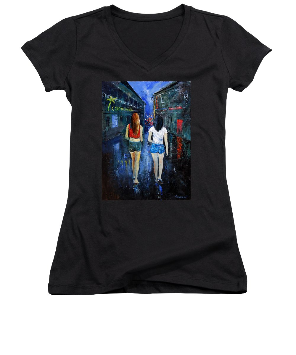 Girl Women's V-Neck T-Shirt featuring the painting Going Out Tonight by Pol Ledent