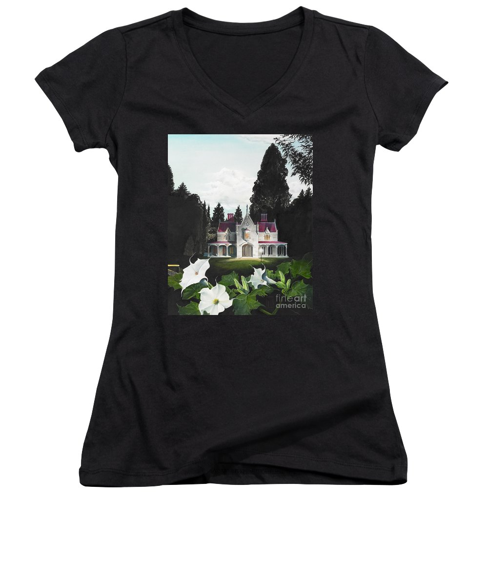Fantasy Women's V-Neck T-Shirt featuring the painting Gothic Country House Detail From Night Bridge by Melissa A Benson