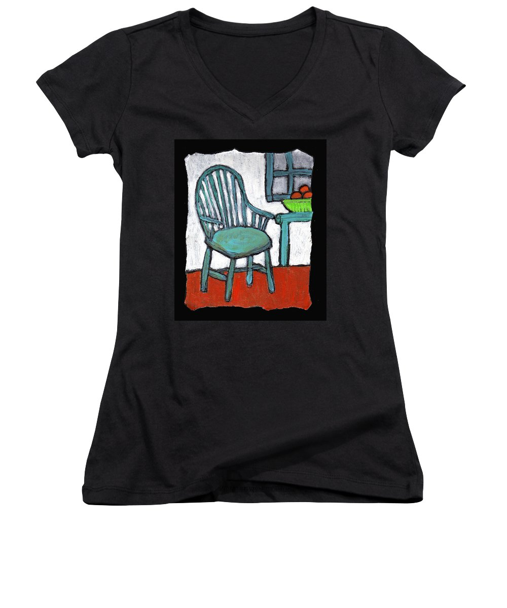 Chair Women's V-Neck T-Shirt featuring the painting Grampa's Empty Chair by Wayne Potrafka