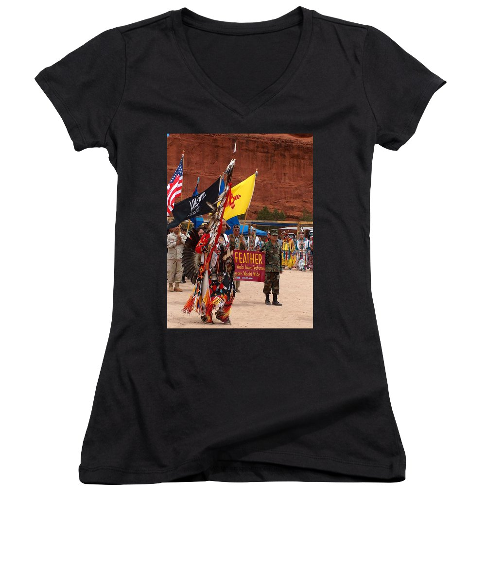 Pow-wow Women's V-Neck (Athletic Fit) featuring the photograph Grand Entry At Star Feather Pow-wow by Tim McCarthy