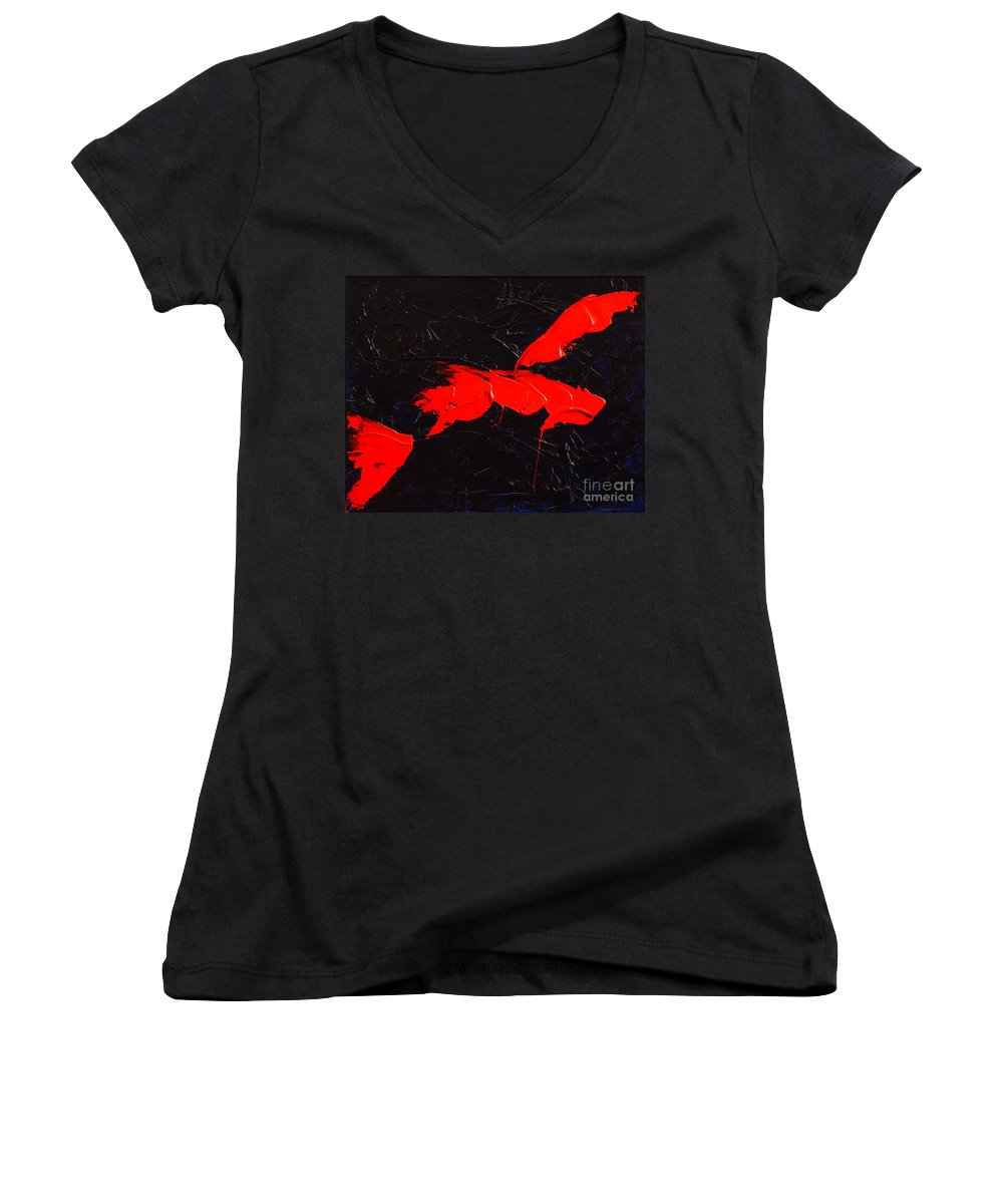 Abstract Women's V-Neck T-Shirt featuring the painting Grandma I by Dean Triolo