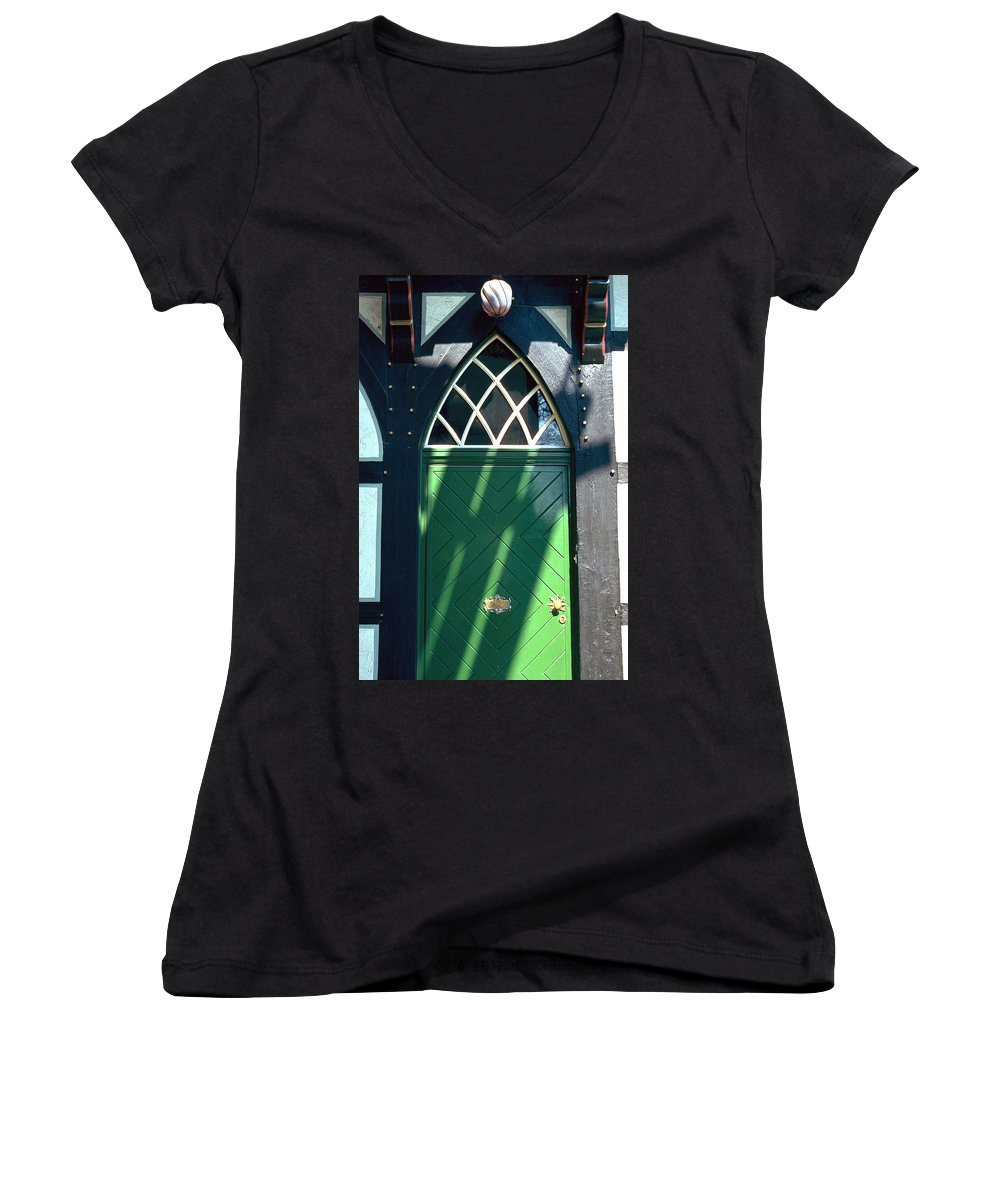 Green Women's V-Neck T-Shirt featuring the photograph Green Door by Flavia Westerwelle