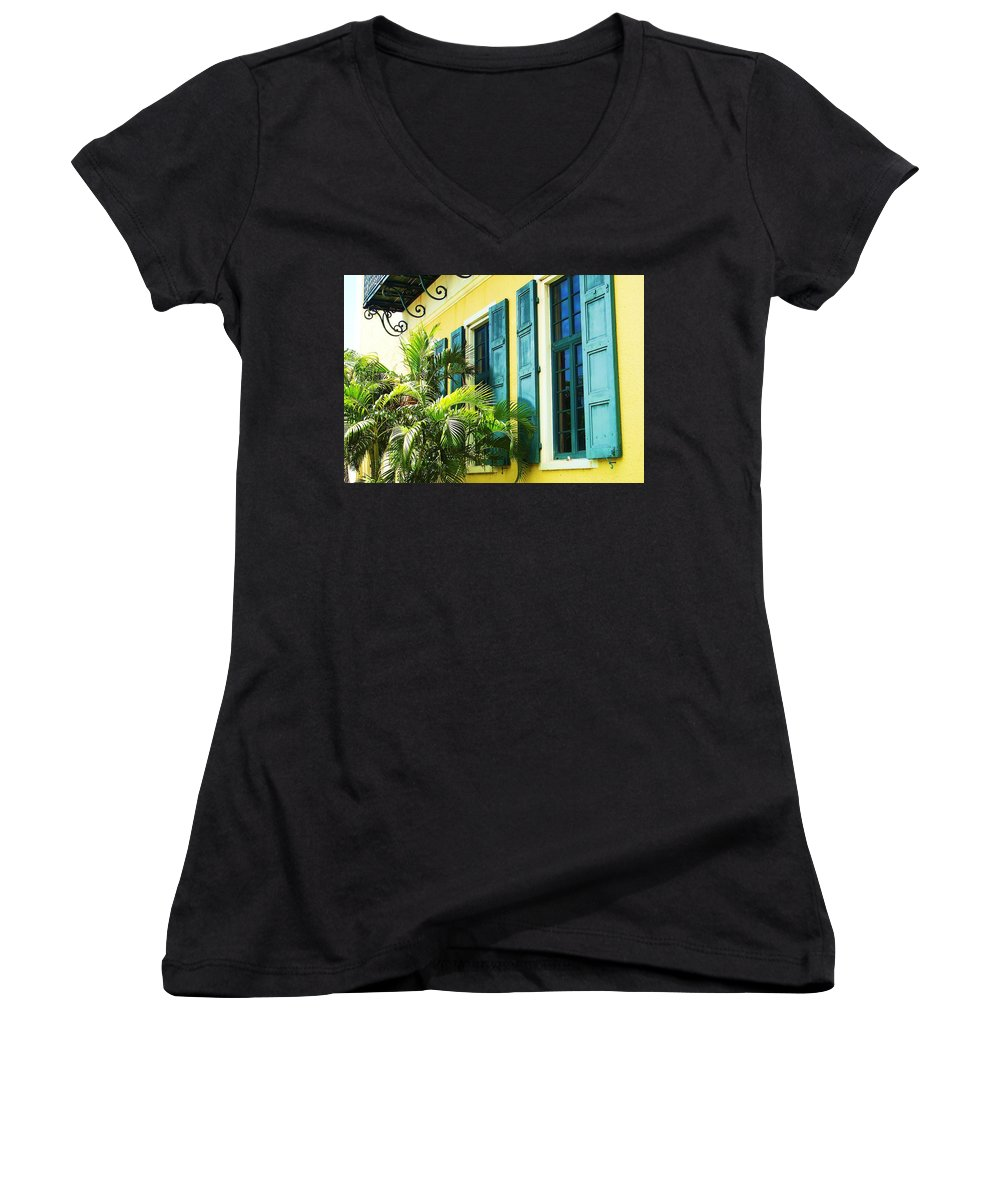 Architecture Women's V-Neck (Athletic Fit) featuring the photograph Green Shutters by Debbi Granruth