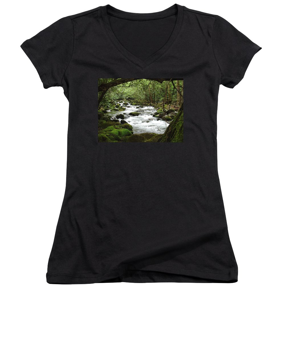Smoky Mountains Women's V-Neck T-Shirt featuring the photograph Greenbrier River Scene 2 by Nancy Mueller