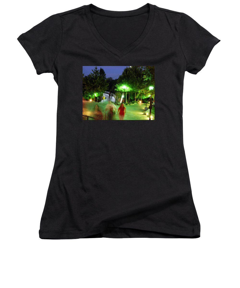 Falls Park Women's V-Neck (Athletic Fit) featuring the photograph Greenville At Night by Flavia Westerwelle
