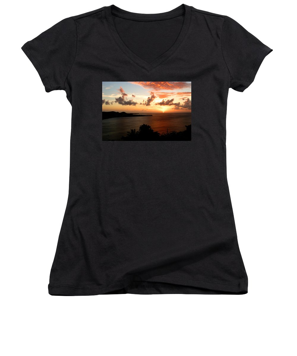 Sunset Women's V-Neck T-Shirt featuring the photograph Grenadian Sunset II by Jean Macaluso