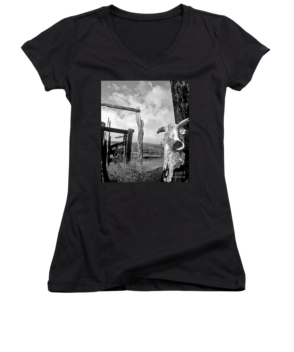 Black And White Women's V-Neck (Athletic Fit) featuring the photograph Guardian Spirit by Jim Cazel