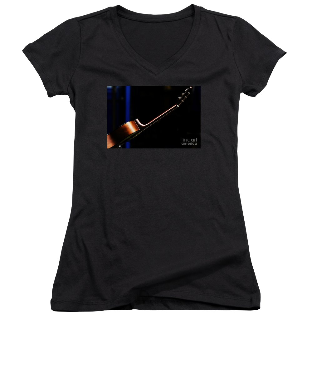 Guitar Women's V-Neck (Athletic Fit) featuring the photograph Guitar by Sheila Smart Fine Art Photography