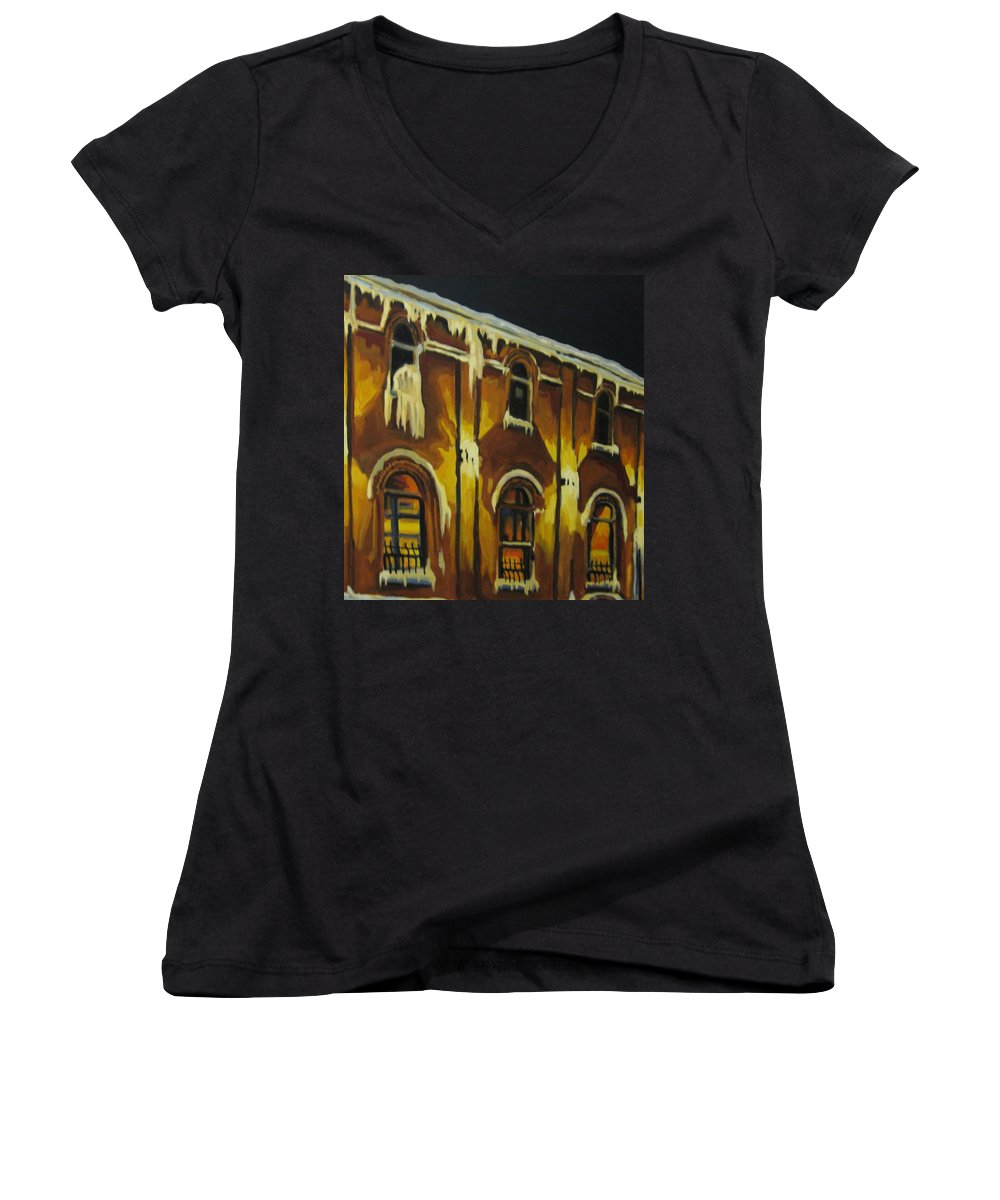 Urban Landscapes Women's V-Neck T-Shirt featuring the painting Halifax Ale House In Ice by John Malone
