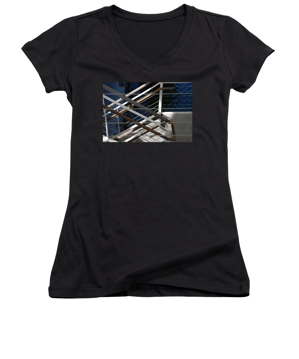 Water Women's V-Neck T-Shirt featuring the photograph Hand Rails by Rob Hans