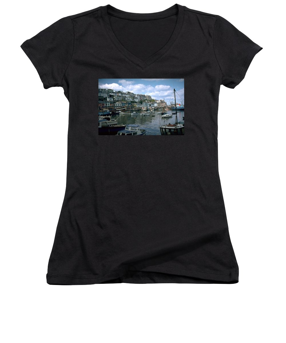 Great Britain Women's V-Neck (Athletic Fit) featuring the photograph Harbor by Flavia Westerwelle