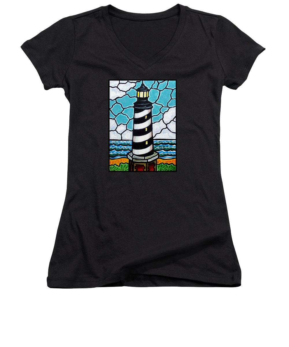 Lighthouse Women's V-Neck T-Shirt featuring the painting Hatteras Island Lighthouse by Jim Harris