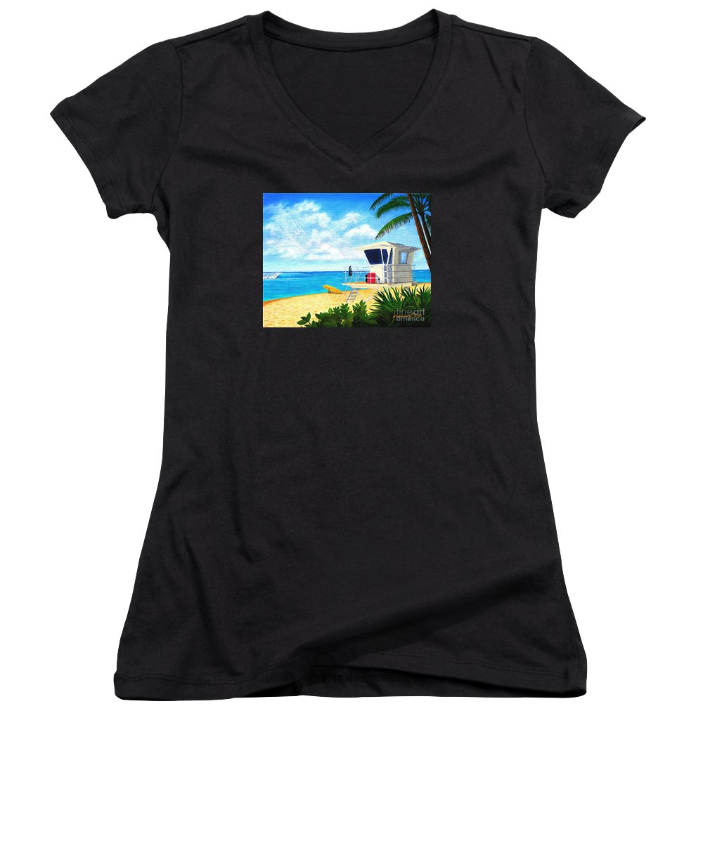 Hawaii Women's V-Neck T-Shirt featuring the painting Hawaii North Shore Banzai Pipeline by Jerome Stumphauzer