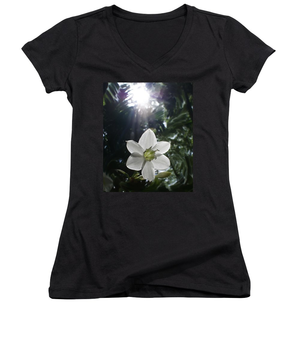 Hawaiian Women's V-Neck T-Shirt featuring the photograph Hawaiian Flower by Heather Coen