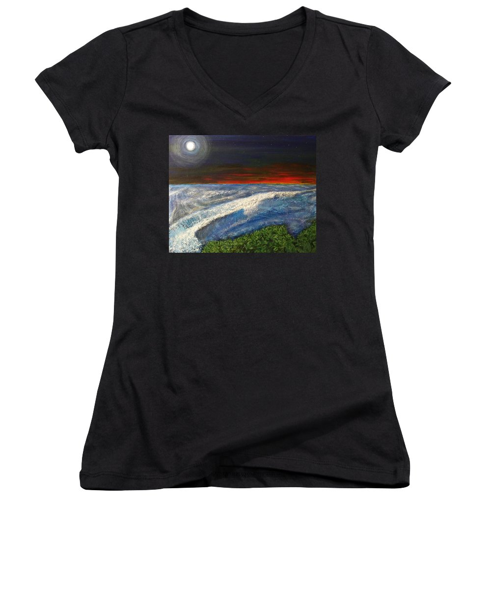 Beaches Women's V-Neck T-Shirt featuring the painting Hawiian View by Michael Cuozzo