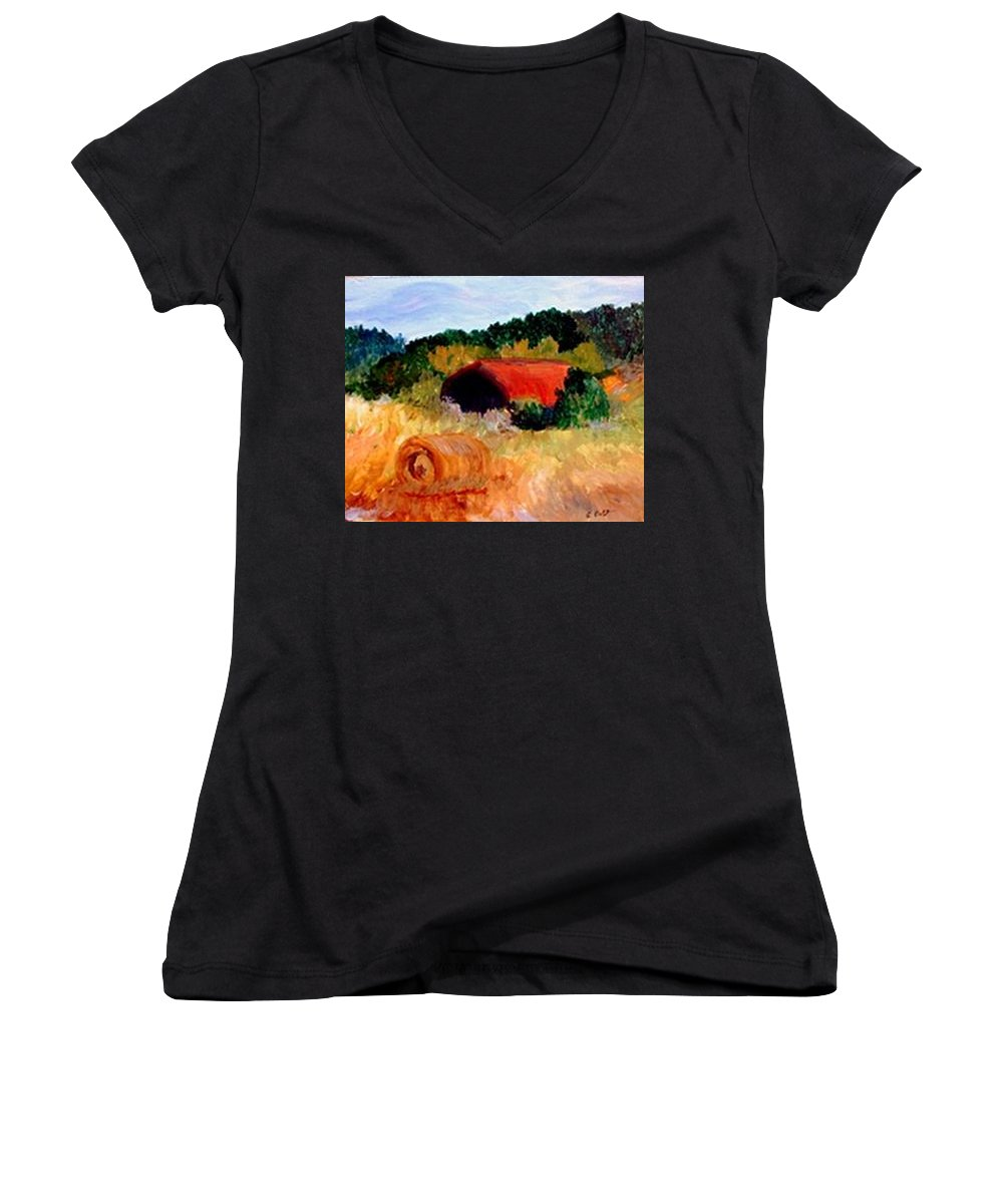 Hayrolls Women's V-Neck (Athletic Fit) featuring the painting Hayrolls by Gail Kirtz