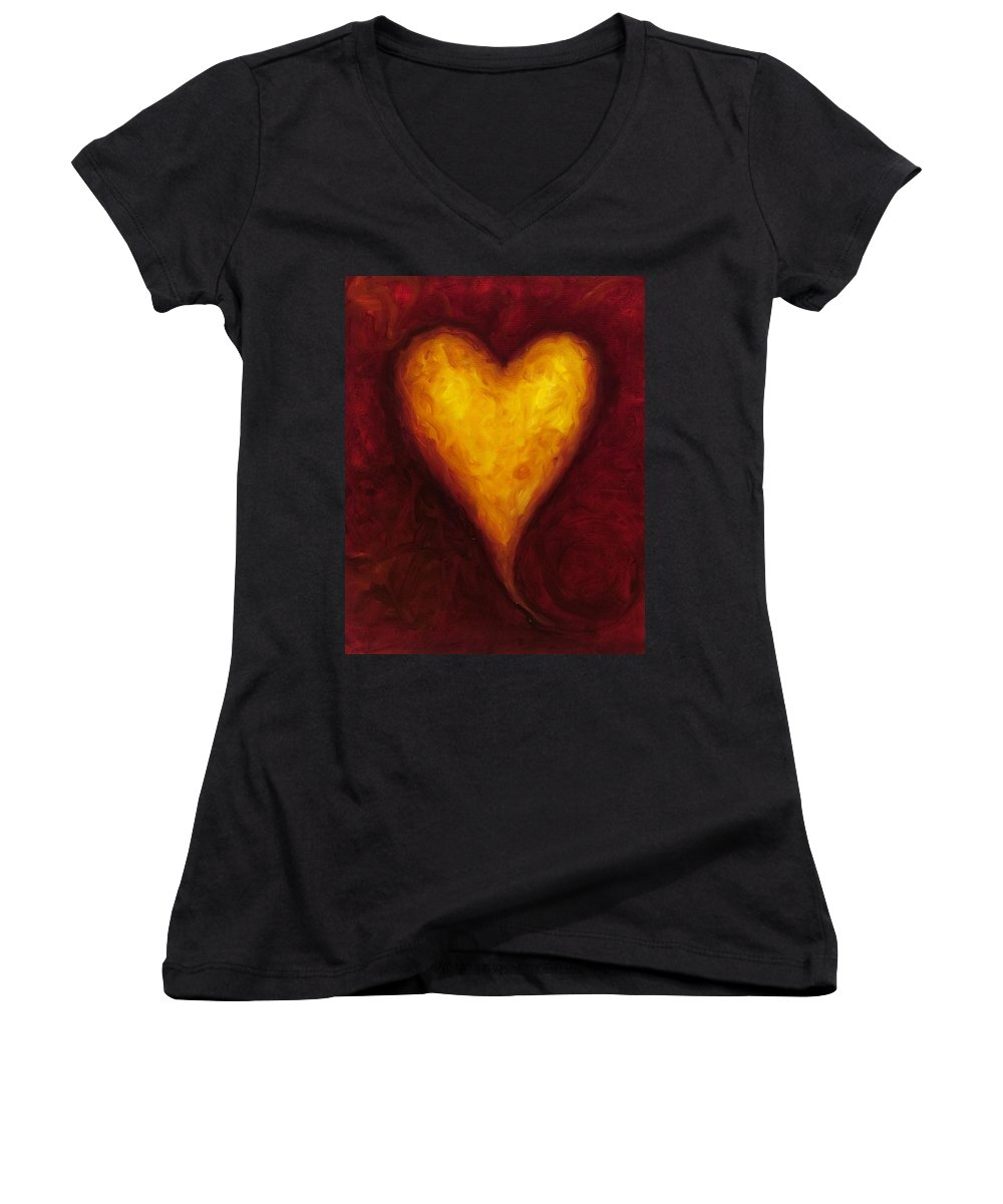 Heart Women's V-Neck (Athletic Fit) featuring the painting Heart Of Gold 1 by Shannon Grissom