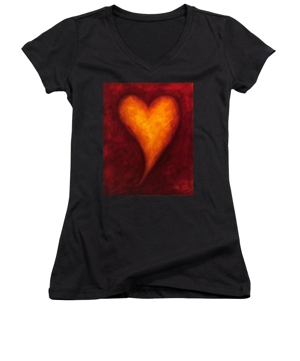 Heart Women's V-Neck (Athletic Fit) featuring the painting Heart Of Gold 2 by Shannon Grissom
