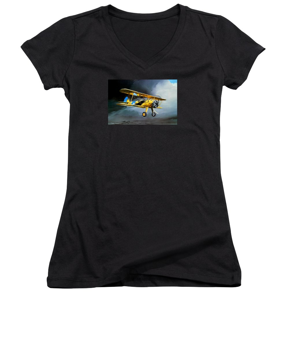 Military Women's V-Neck T-Shirt featuring the painting Here Comes The Sun by Marc Stewart