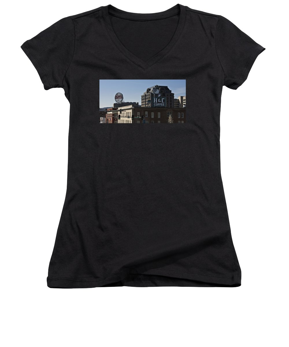 Roanoke Women's V-Neck (Athletic Fit) featuring the photograph Historic Landmark Signs Roanoke Virginia by Teresa Mucha