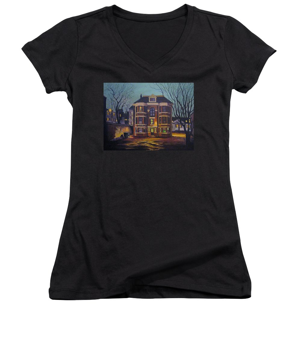 Moody Women's V-Neck (Athletic Fit) featuring the painting Historic Property South End Haifax by John Malone