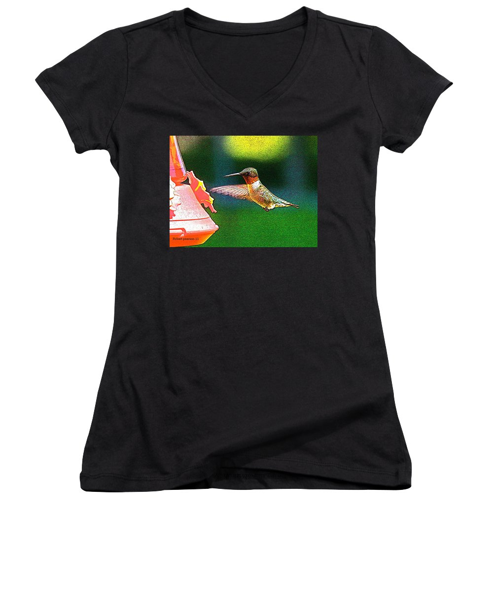 Humming Bird Women's V-Neck (Athletic Fit) featuring the photograph Hmmm by Robert Pearson