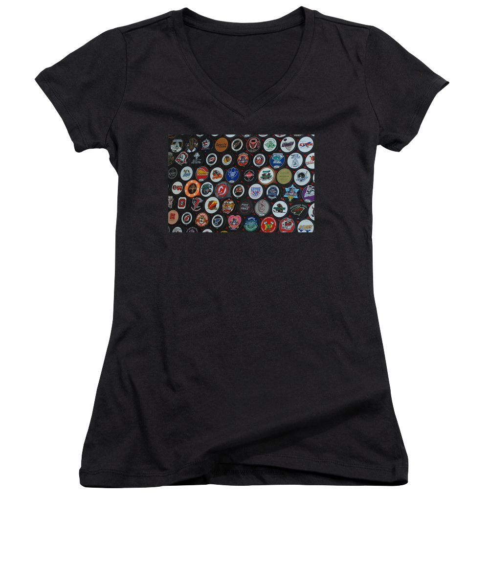 Pop Art Women's V-Neck (Athletic Fit) featuring the photograph Hockey Pucks by Rob Hans
