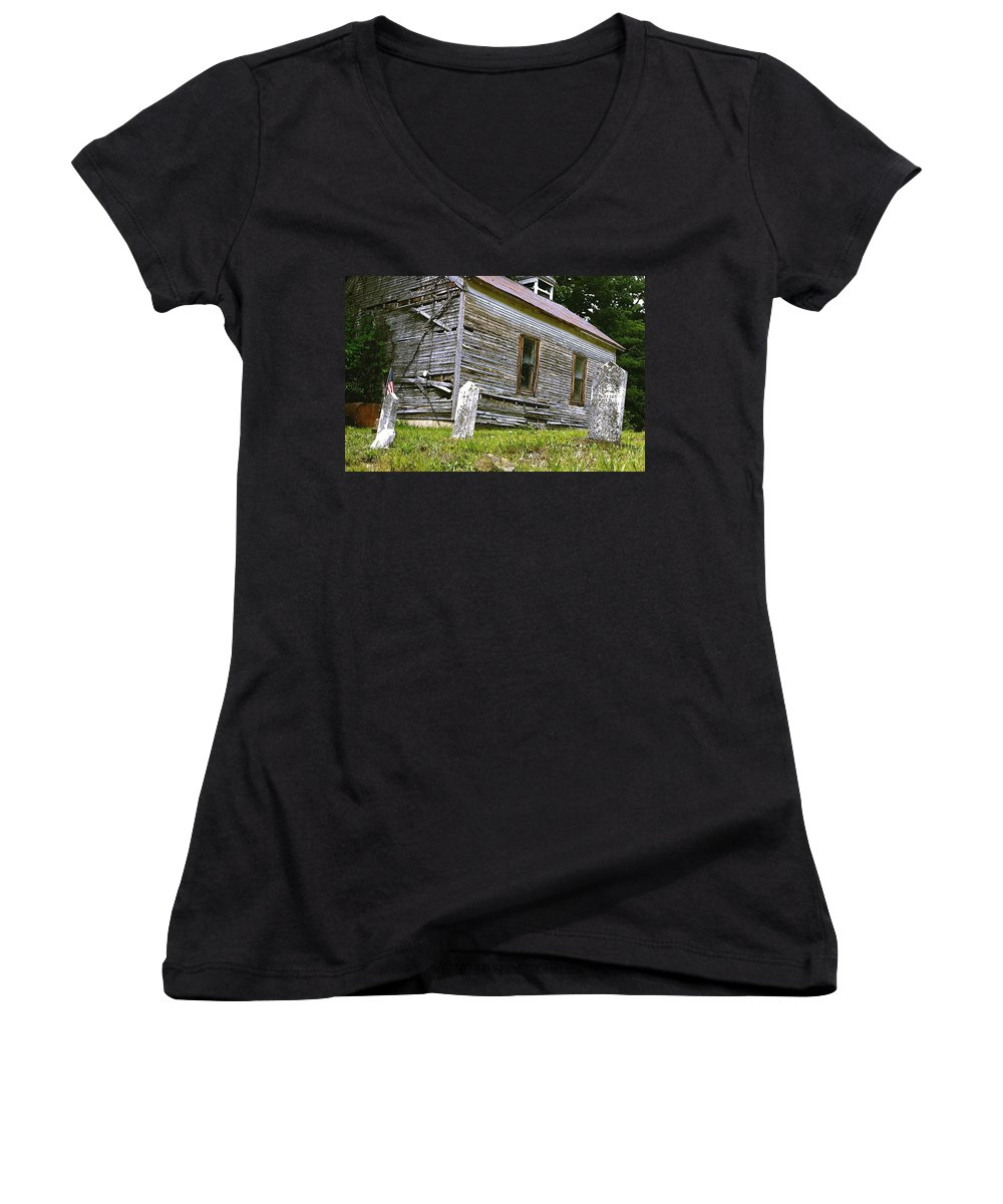 Church Women's V-Neck T-Shirt featuring the photograph Hocking Hills Church by Nelson Strong