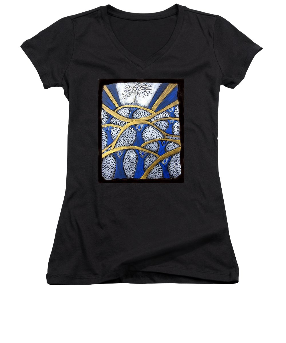 Tree Women's V-Neck T-Shirt featuring the painting Holding Up The Family Tree by Wayne Potrafka