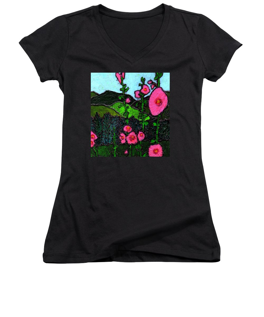 Hollyhocks Women's V-Neck T-Shirt featuring the painting Hollyhocks by Wayne Potrafka